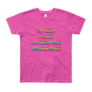 Peace Love Rainbows Unicorns Kids Tee