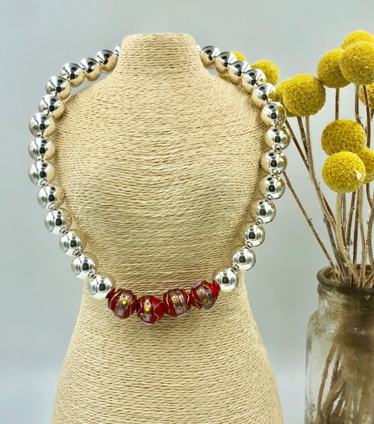 Sterling Silver & Venetian Glass Bead Necklace