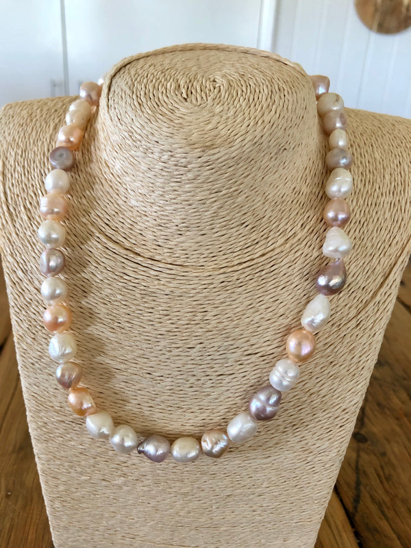 Multi Colour Freshwater Pearl Necklace + Sterling Silver