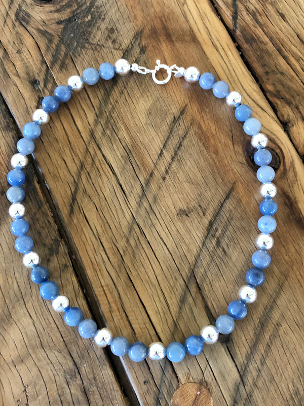 Blue Aventurine & Sterling Silver Necklace