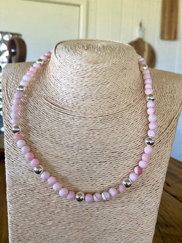 Pink Opal & Sterling Silver Necklace