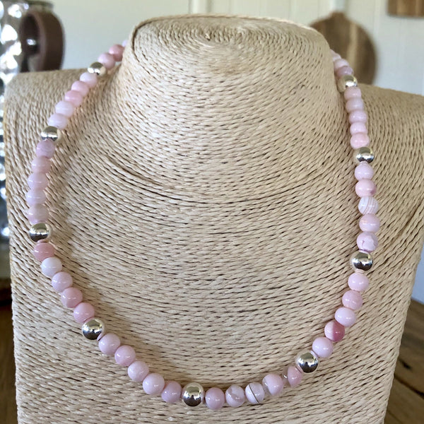 pink opal and sterling silver necklace