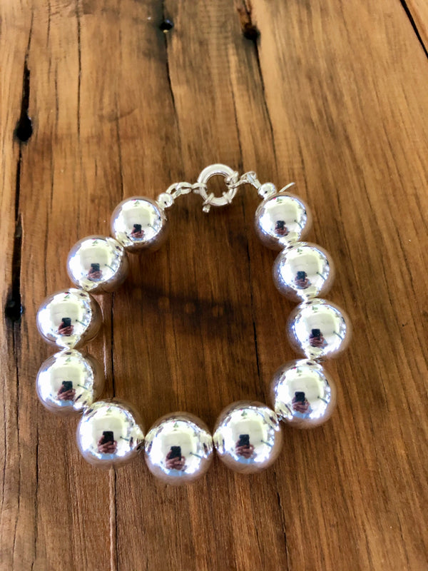 Sterling Silver Ball Bracelet - 16mm