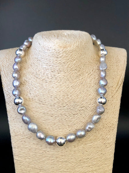 Freshwater Pearl + Sterling Silver Necklace