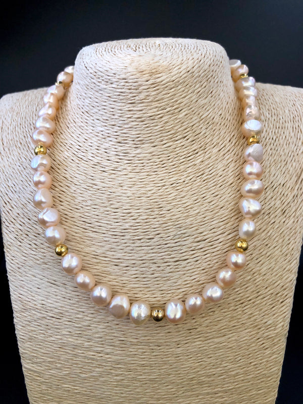 Pearl + Gold Ball Necklace