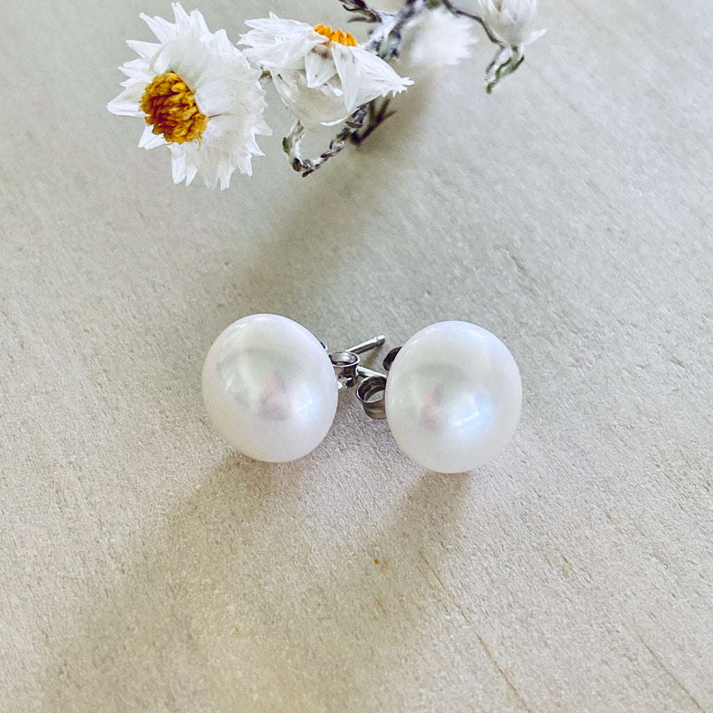 Sterling Silver Stud + Freshwater Pearl 12mm