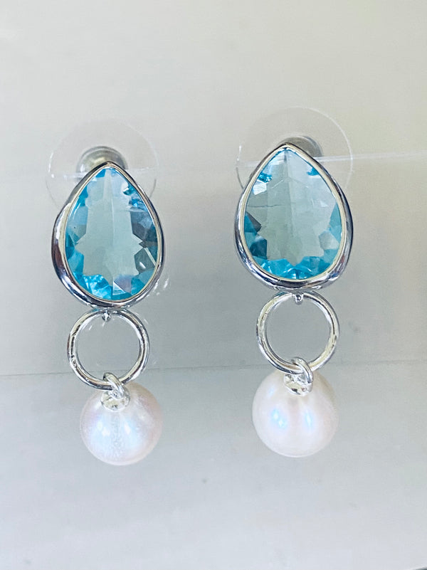 Freshwater Pearl + Blue Glass
