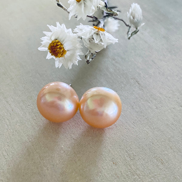 Sterling Silver Stud + Freshwater Pink Pearl 12mm