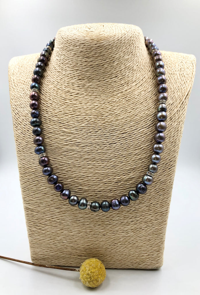 Grey Pearl + Swarovski Crystal Necklace