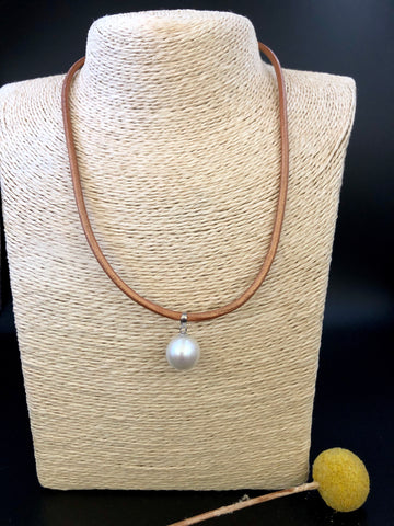 Bronze Leather and Baroque Pearl Pendant