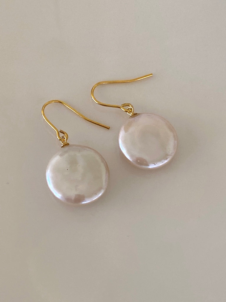 Coin Pearl + Gold Earring