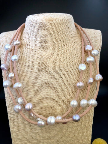 3 X Strand Leather + Freshwater Pearls