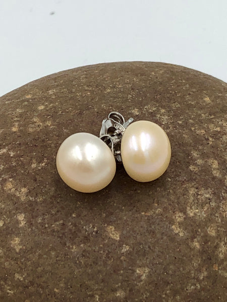 Sterling Silver Stud Pearl Earrings