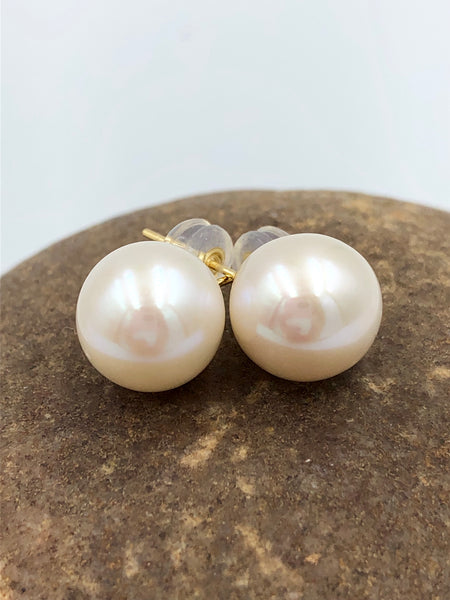 Gold Stud Pearl Earrings