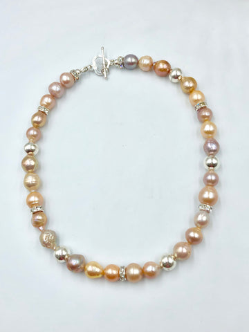 Baroque Pearl + Swarovski Crystal + Sterling Silver Necklace
