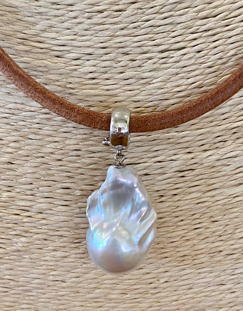 Leather and Baroque Pearl Pendant