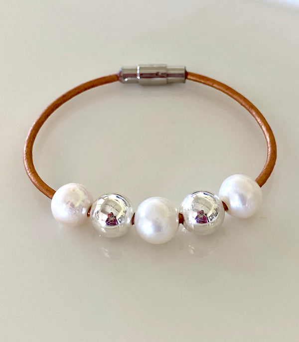 Leather + Pearl + Sterling Silver Bracelet
