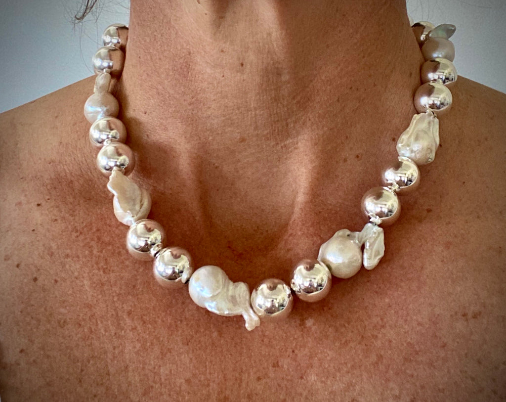 Large Baroque Pearl + Sterling Silver Necklace