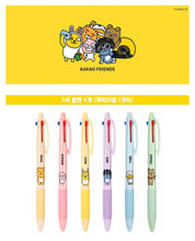 6 pcs set Kakao Friends 3 color pen with different characters