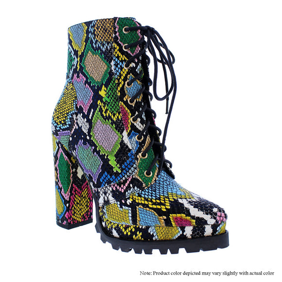 Multi Snake Thick Heel Boots