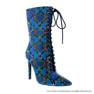 Blue Multicolored Snake Boots