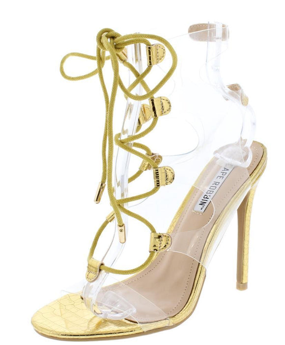 Gold Lucite Open Toe Cut Out Lace Up Stiletto Heel