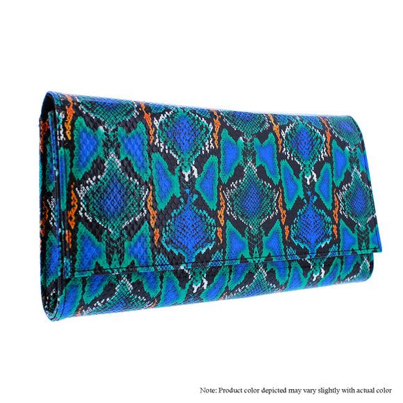 Blue multi Snake Clutch/Purse