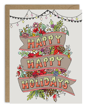 Happy Happy Holidays Card Pack (8)