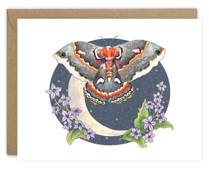 Nocturnal Moth Moon Card