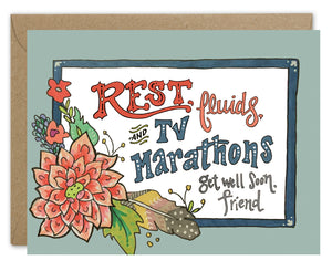 Rest, Fluids, & TV Marathons Card