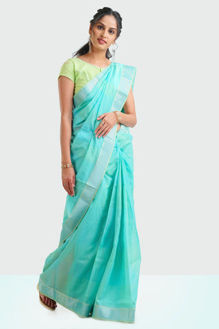 Light Blue sari with Resham border