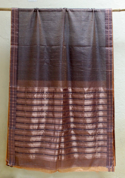 Ahilya - Intricately woven Dark blue Tissue sari with Jhala palla & Jamdani buttis in Copper zari