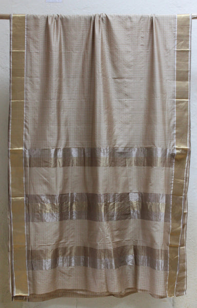 Mihika - Checkered Silk sari with Eent border