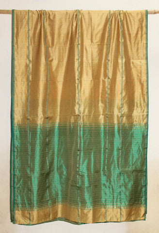 Indira - Contemporary Silk sari in Metallic Gold & Green