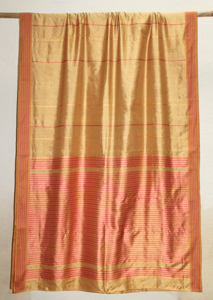 Kanak - Golden Pure Silk sari with a Contrast border