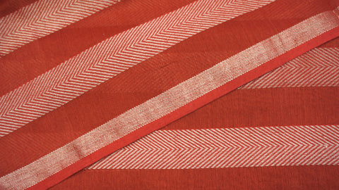 Crimson Red Cotton and Zari Maheshwari Fabric