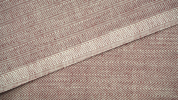 Red and White Cotton Wavy Twill Fabric