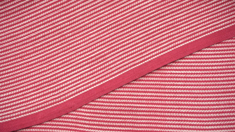 Fuchsia and White Striped Cotton Fabric