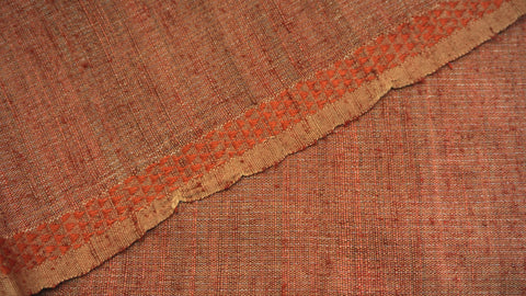 Rust Orange Cotton, Matka Silk and Zari Fabric