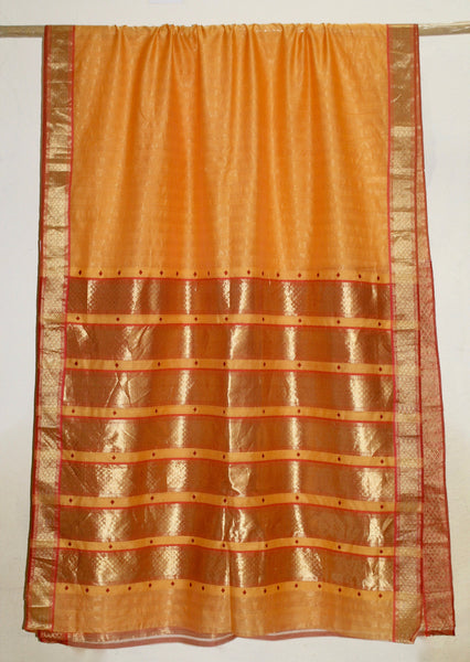 Chandrawati - Amber & Red Jhalla Palla sari with Meena Buttis