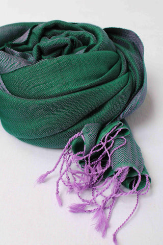 Matt Green with Purple Tassles Rehwa Wool Shawl