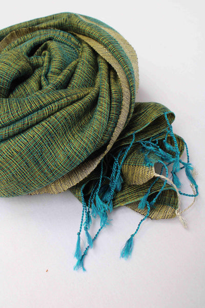 Green with Golden Border Rehwa wool shawl
