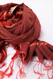 Dark Red With Stripes Rehwa Wool Shawl