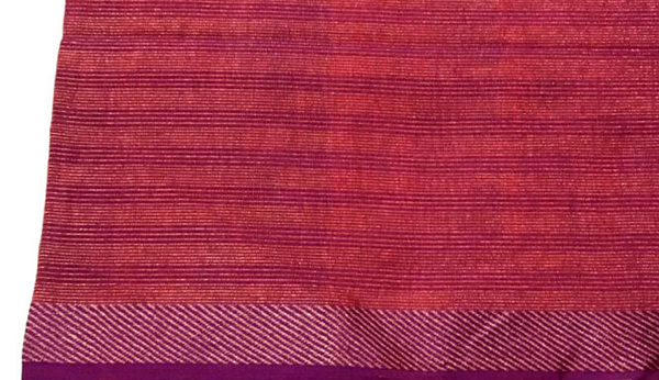 Magenta Tissue Fabric with Copper Zari