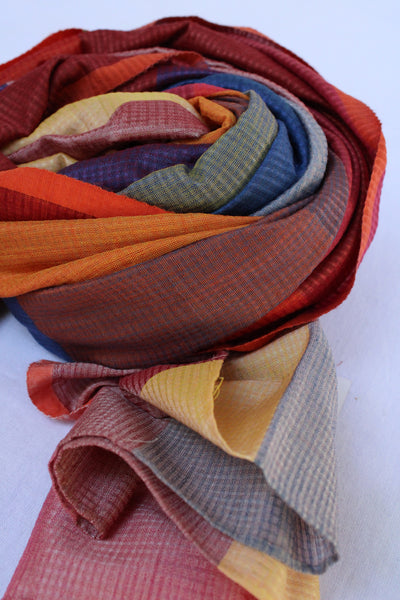 Multi-coloured Red and Blue Rehwa Scarf