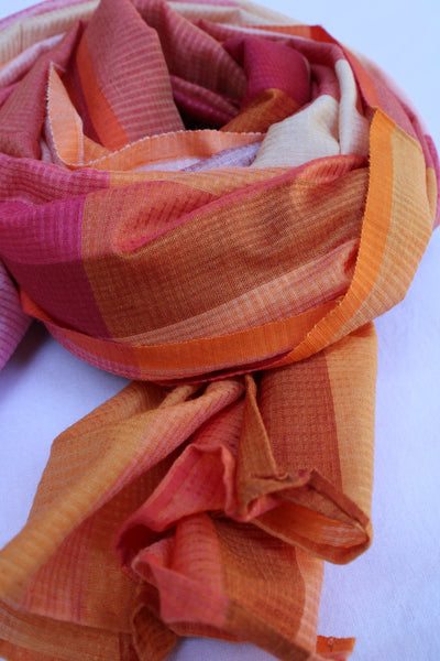 Multi Coloured Orange and Pink Rehwa Scarf