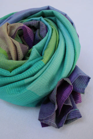 Multi Coloured Firozi and Blue Rehwa Scarf