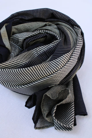 Black and White with Stripes Rehwa Cotton Scarf