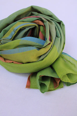 Green and Light Orange Rehwa Cotton Scarf