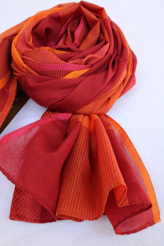 Orange and Red Rehwa Cotton Scarf